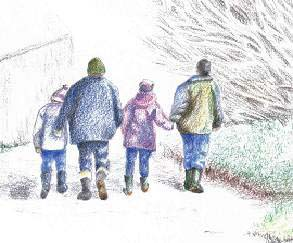 Family walk, Welcombe